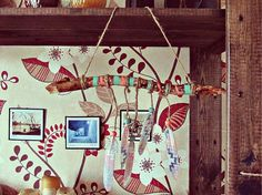 Aztec wooden mobile with handpainted driftwood, feathers (with various print, might be different then on pics, but still lovely and…