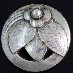 Vintage Georg Jensen Sterling Silver Floral Leaf Pin