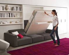 10 modern Murphy beds, or wall beds, that will you maximize space in your small home. Finding a Murphy bed perfect for your modern or contemporary home can prove difficult. Diy Murphy Bed, Cama Murphy, Best Murphy Bed, Modern Murphy Beds, Murphy Bed Plans, Beds For Small Spaces, Small Space Living, Small Apartments, One Room Flat