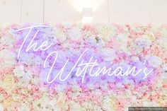 Neon sign that says 'The Wittman's' in front of pink and white flower wall White Roses, White Flowers, Signature Cocktail, Wedding Signage, Wedding In The Woods, California Wedding, Flower Wall, Fall Wedding, Floral Arrangements
