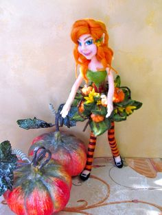 Needle Felt Doll - poseable pumpkin patch fairy.