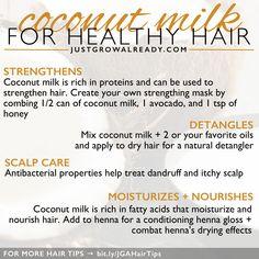 Hair growth treatment shampoos coconut milk ideas for 2019 Coconut Milk For Hair, Coconut Oil Hair Growth, Coconut Oil Hair Mask, Hair Growth Shampoo, Oil For Curly Hair, Hair Oil, Natural Hair Tips, Natural Hair Styles, Hair