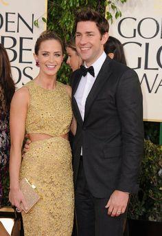 Emily Blunt and John Krasinski on the Golden Globes Red Carpet 2013