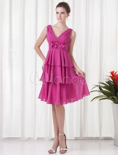Dama corta rebordear vestido con cuello en v vestido de Cóctel