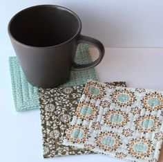 Quilted coasters - tuck in rough edges with batting in between and sew from outside in!