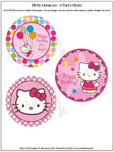 BROWN Hello Kitty  DIY 4 Cake Topper by menalove on Etsy, $8.00