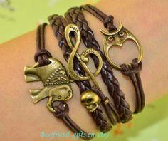 Ancient bronze skull  music symbols bracelet by Bestfriendgiftshop, $5.99
