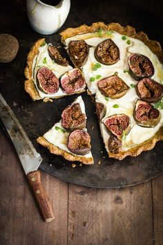 Labneh Fig and Thyme Tart with Pistachio Almond Crust.