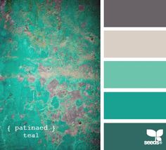 Patinaed Teal color palette by Design Seeds Colour Schemes, Color Combinations, Colour Palettes, Paint Schemes, Palette Verte, Pintura Country, Design Seeds, Colour Board, Color Swatches