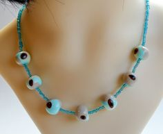 Aqua Blue Bead Necklace Turquoise Necklace, Beaded Necklace, Necklaces, Blue Beads, Aqua Blue, Handmade, Jewelry, Beaded Collar, Hand Made