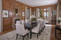 Heidi Klum, Brentwood, CA - Designed to Dine -   The formal dining room is lined with wood paneling imported from a Parisian hotel.