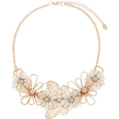 Accessorize Katie Butterfly Statement Necklace (57 CAD) ❤ liked on Polyvore featuring jewelry, necklaces, butterfly necklace, daisy flower jewelry, filigree jewelry, flower necklace and monarch butterfly necklace