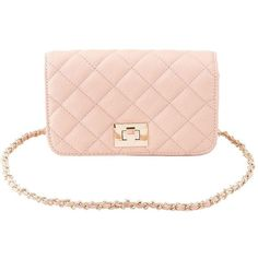Charlotte Russe Quilted Chain Strap Crossbody Bag ($17) ❤ liked on Polyvore featuring bags, handbags, shoulder bags, blush, quilted wristlet, wristlet crossbody, pink handbags, pink shoulder bag and crossbody shoulder bags