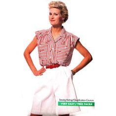 Butterick Sewing Pattern 6404 Misses' Blouse, Shorts Size: A 6-8-10-12-14 Uncut