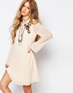 Image 1 of Glamorous Bell Sleeve Smock Dress With Festival Embroidery