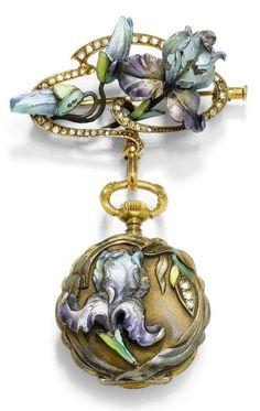 Art Nouveau gold, enamel and diamond lapel watch, by Le Coultre, ca. Bijoux Art Nouveau, Art Nouveau Jewelry, Jewelry Art, Jewelry Bracelets, Fashion Jewelry, Enamel Jewelry, Pendant Jewelry, Antique Jewelry, Vintage Jewelry