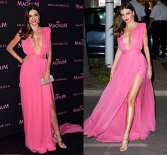 Find More Celebrity-Inspired Dresses Information about Sexy Long Chiffon Miranda Kerr Pink Dress Cannes 2015 Deep V neck Spaghetti Strap High Side Split Red Carpet Dress ,High Quality carpet doormat,China dress up paris fashion Suppliers, Cheap carpet wool from Amazing Dress Factory  on Aliexpress.com