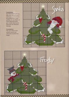 ♥Meus Gráficos De Ponto Cruz♥: Natal --- PG 1 OF 3 --- SANTA, FROSTY, RUDI, IN SEPARATE TREES