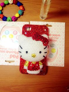 Iphone 4 & 4s cases big red Hello Kitty shining case for your cell phone