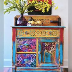 Mexican Furniture, Funky Painted Furniture, Bohemian Furniture, Recycled Furniture, Refurbished Furniture, Paint Furniture, Furniture Makeover, Cool Furniture, Floral Furniture