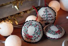 gift for him, gift for her, Christmas, Holidays,Gifts,Embroidered Christmas wreath ornament, Xmas tree decoration