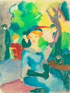 August Macke - Figures in the park (53,0 x 70,0 cm)