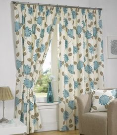 NEW ISLA READY MADE PAIR OF EYELET CURTAINS TIE BACKS Teal 46X72