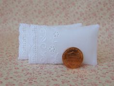 Dollhouse Miniature Set of 2 White Pillows by TheLittleQuiltShoppe