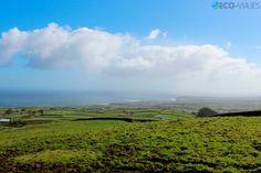 Terceira, la isla violeta de las Azores - via Eco-Viajes.com   La isla de Terceira forma parte del archipiélago portugués de las Azores y recibe su nombre porque fue la tercera en ser descubierta, aunque también es, curiosamente, la tercera más grande. Un destino alejado del turismo masificado donde practicar todo tipo de actividades de turismo activo. Recorremos la isla por su costa. Foto: Los verdes campos de Terceira en la zona de Agualva