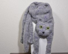 Gray Cat Scarf Knitting Animal scarf-Cat Lover Mohair Cat khaki Eyes