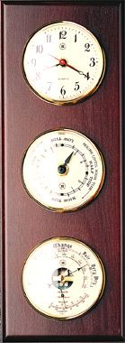 Quartz Clock, Tide Clock & Baro/Thermo on Mahogany Weather Station