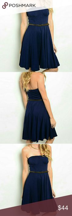 Belted Strapless Navy Midi dress Belted Strapless Navy dress with boned bust and torso for lasting shape and internal rubber grips for hold. Hidden back zipper. 75% rayon/20% polyester/5% spandex.   Boutique so price is firm unless bundled. threadzwear  Dresses Midi