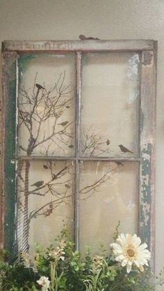 Deco fenetre projects to try old window crafts, old window p Old Window Crafts, Old Window Decor, Old Window Projects, Old Window Ideas, Old Window Art, Glass Window Ideas, Diy Projects, Window Frame Art, Rustic Window Frame