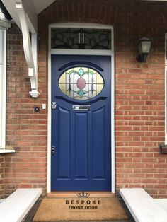 Eye-catching period front door and frame in cobalt blue and white. This bespoke front door is fitted with polished chrome door furniture. Doors, Door Furniture, Red Bricks, Front Door With Screen, Front Door, Front Door Decor, White Doors, Painted Front Doors, Red Brick House