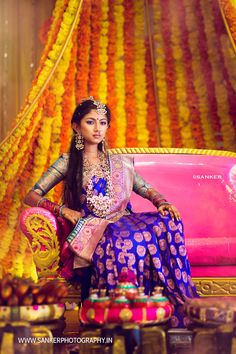 An Awe Inspiring Half Saree Function Of A Jewellery Designer's Daughter Half Saree Designs, Sari Blouse Designs, Lehenga Designs, Half Saree Lehenga, Saree Dress, Saree Blouse, Kids Lehenga, Anarkali, South Indian Bride