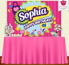 Printable Shopkins Inspired Party Backdrop Party by ArtfulMonkeys 6th Birthday Parties, Birthday Party Decorations, Party Themes, Party Ideas, Shopkins Bday, Hawaiian Birthday, Birthday Backdrop, Party Banners, Birthday Board
