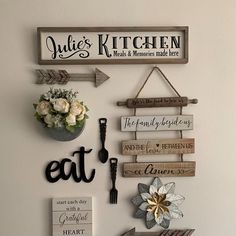 Wood Pallet Signs, Wood Pallets, Chic Chalet, Kitchen Gallery Wall, Kitchen Wall Art, Dining Room Wall Decor, Kitchen Wall Decorations, Rustic Wall Decor, Bedroom Decor