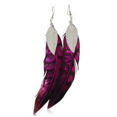 Fuchsia & Black Dangle Feather Earrings Leaf Accent, 6 Inches Long by SuperJeweler, http://www.amazon.com/dp/B005I6676M/ref=cm_sw_r_pi_dp_TtPDpb1ZC3RVN