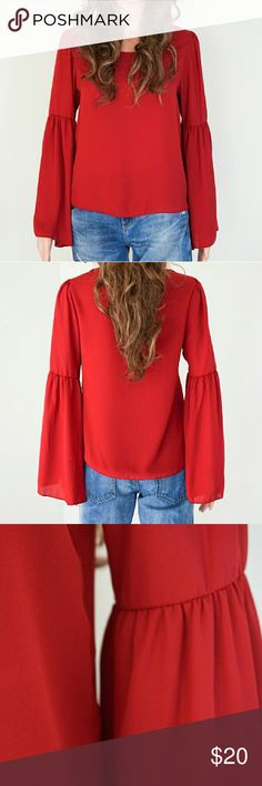 NWOT Red Blouse How about Friday night, you say? Well, here's a perfect top for your next friendly or romantic date. Be stunning in this casually sexy top featuring baby doll sleeves and an eye-catching deep red color. This is new without tag and was never used.  Size Small Fabric: 100% polyester Bundle discount: 20% for 3 Same day shipping Line up Tops Blouses