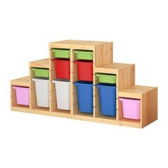 TROFAST Storage combination with boxes IKEA Several grooves allow you to place boxes/shelves where you want them. Stackable when used with a lid.