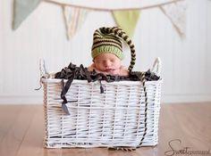 Newborn HAT Baby Photo PROP MUNCHKIN Stocking Cap Pistachio Chocolate brown stripes Pick Colors Unigender Knit 2 Order Boy Girl Unigender. $28.00, via Etsy.