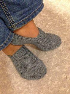 anettemcl's Nettle essence Knit Slippers Free Pattern, Knitted Slippers, Crochet Bunny, Crochet Slippers, Knit Crochet, Knitting Paterns, Arm Knitting, Knitting Socks, Crochet Poppy Free Pattern