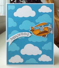 Card plane airplane aeroplane sky transportation travel, flying fly up in the sky, cloud clouds, Happy Birthday greeting banner, TE Plane awesome stamp and die combo Taylored Expressions EPS72, MFT Cloud cover up Die-namics #mftstamps - JKE