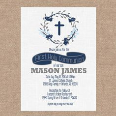 Printable Rustic Classic First Communion, Christening, Baptism | Gray /Navy/ Light Blue Personalized | DIY Printable Invitations by KendyllRaes on Etsy https://www.etsy.com/listing/262781618/printable-rustic-classic-first-communion