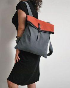 Backpack Messenger bag Waterproof gray canvas Leather closure Fashionable bag Handmade women bag Minimalist convertible bag Gift for her - Wasserdichter+Rucksack+Kuriertasche+rot+grau+von+misirlouHandmade - Diy Sac, Lightweight Backpack, Waterproof Backpack, Canvas Leather, Fashion Bags, Stylish Outfits, Leather Backpack, Chic Backpack, Purses And Bags