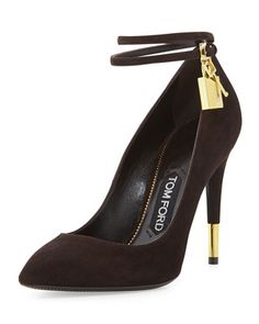 Suede+Ankle-Lock+Pump,+Chocolate+by+Tom+Ford+at+Neiman+Marcus.