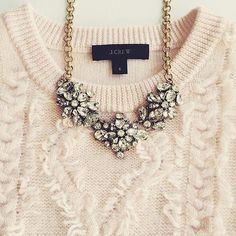 statement-necklace-with-creamy-sweater- Statement necklaces with cozy sweaters http://www.justtrendygirls.com/statement-necklaces-with-cozy-sweaters/