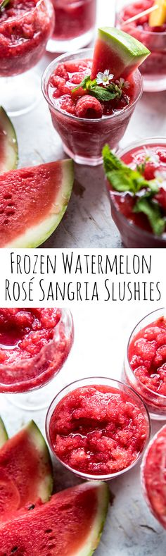 Watermelon a wonderfully tasty treat, but it's also something that you really want in your diet because of all of the health benefits it supplies. Refreshing Drinks, Fun Drinks, Yummy Drinks, Yummy Food, Summer Beverages, Tasty, Slushies, Rose Sangria, Watermelon Sangria