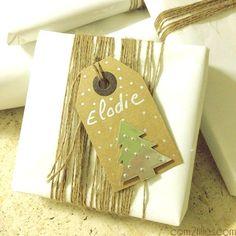 paquet cadeau laine et étiquette kraft