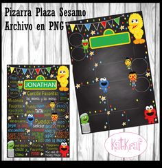 Slate square Sesame baby File in PNG so you put the text you want Sesame Street Invitations, Valentino, Birthday, Party, Etsy, Birthday Chalk Boards, Elmo Party, Fiestas, Bebe